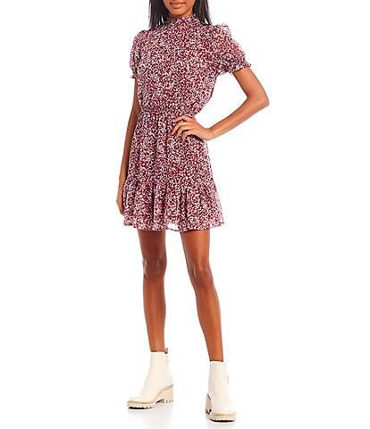 Midnight Doll Mock Neck Short Sleeve Floral Lurex Dress