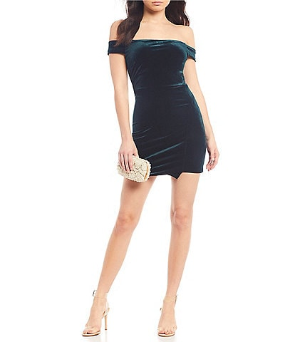 Midnight Doll Off-The-Shoulder Velvet Wrap Dress