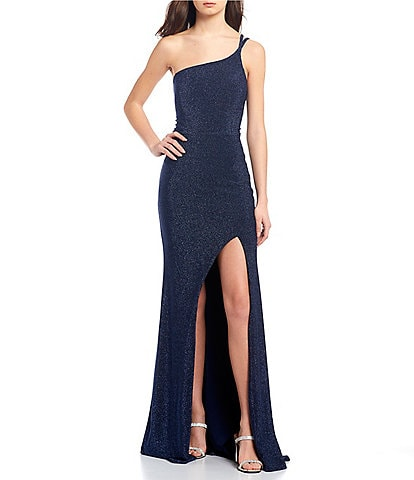 Midnight Doll One-Shoulder Double Strap High Side Slit Glitter Knit Long Dress