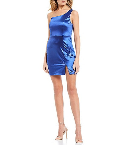 Midnight Doll One-Shoulder Satin Bodycon Dress