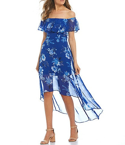 Midnight Doll Ruffle Off-The-Shoulder Floral High-Low Maxi Dress