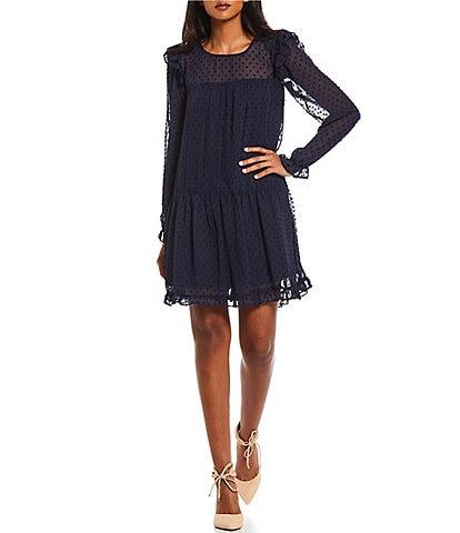 Midnight Doll Ruffled-Sleeve Clip-Dot Chiffon Empire-Waist Dress