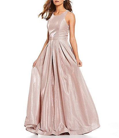 Midnight Doll Sleeveless High-Neck Shimmer Ball Gown