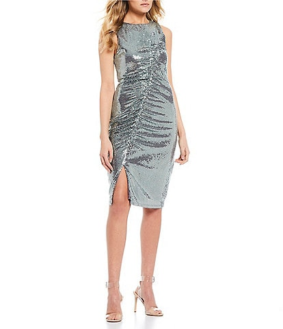 Midnight Doll Sleeveless Ruched Sequin Bodycon Dress