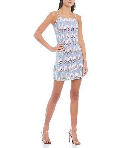 Midnight Doll Sleeveless Sequin-Patterned Mesh Sheath Dress