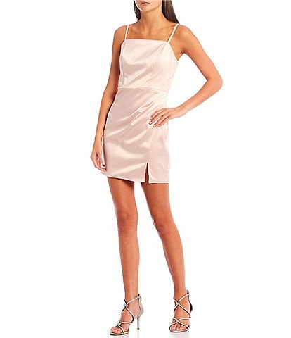 Midnight Doll Sleeveless Square Neck Notch Hem Satin Sheath Dress