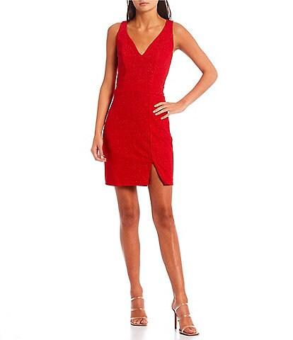 Midnight Doll Sleeveless V-Neck Glitter Knit Slim Dress