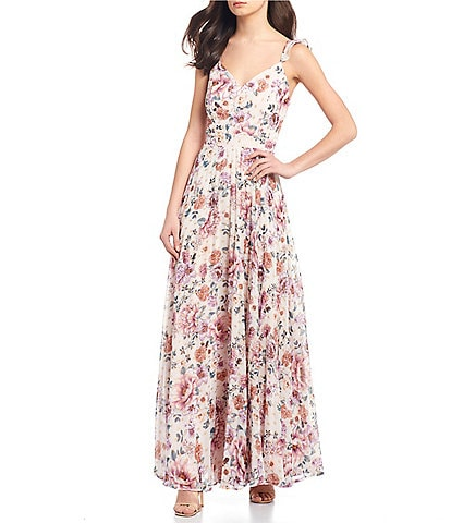 Midnight Doll Spaghetti Strap Floral Print Pleated Chiffon Long Dress
