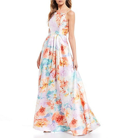 Midnight Doll Spaghetti Strap Floral Print Satin A-Line Long Dress