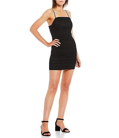 Midnight Doll Spaghetti Strap Square-Neck Ruched Bodice Mesh Bodycon Dress