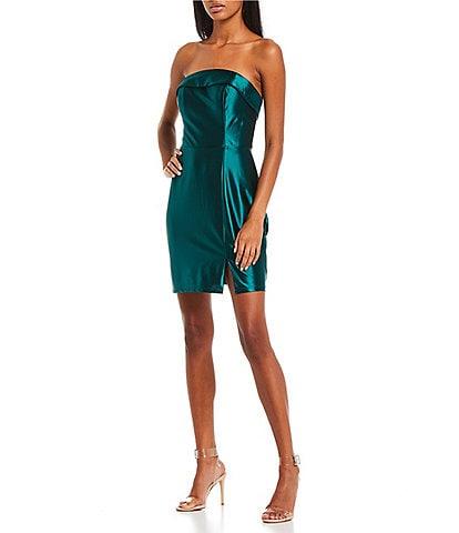 Midnight Doll Strapless Cuffed Satin Dress