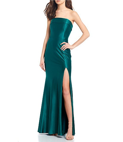 Midnight Doll Strapless Shimmer High-Side Slit Long Dress