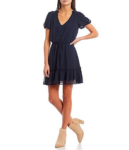 Midnight Doll V-Neck Clip Dot Tiered Dress