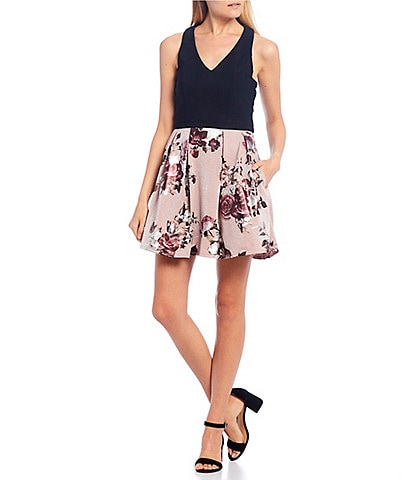 Midnight Doll V-Neck Mixed Foil Print Fit-and-Flare Dress