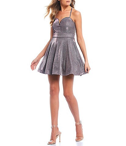 Midnight Doll X-Back Iridescent Shine Fit & Flare Dress