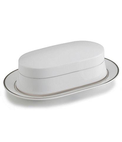 Mikasa Cameo Platinum Porcelain China Covered Butter Dish