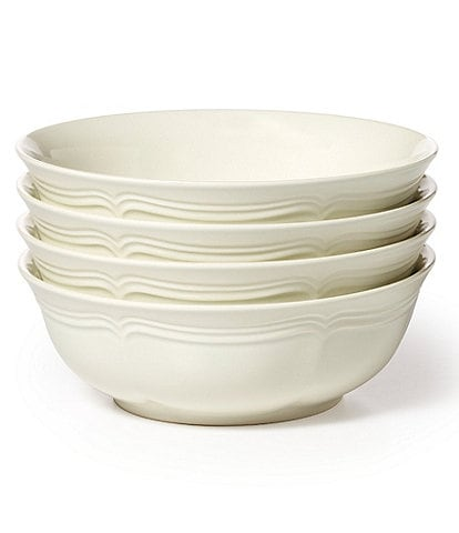 Mikasa French Countryside Rippled Baroque Stoneware Cereal Bowls, Set of 4