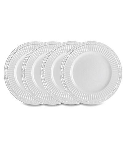 Mikasa 4-Piece Italian Countryside Ridged Floral Stoneware Bread & Butter Plate Set