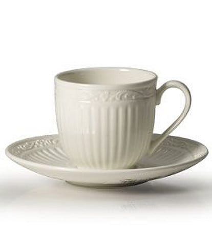 Mikasa Italian Countryside Ridged Floral Stoneware Espresso Cup & Saucer Set