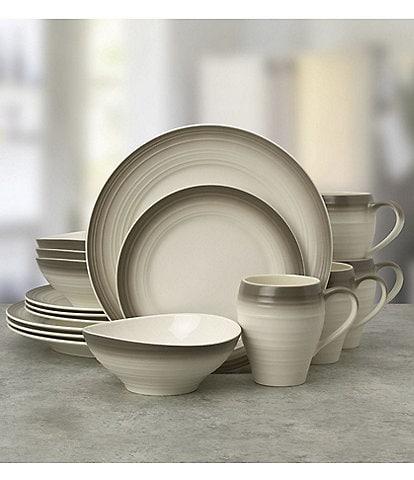 Mikasa Swirl Ombre Mocha 16-Piece Dinnerware Set