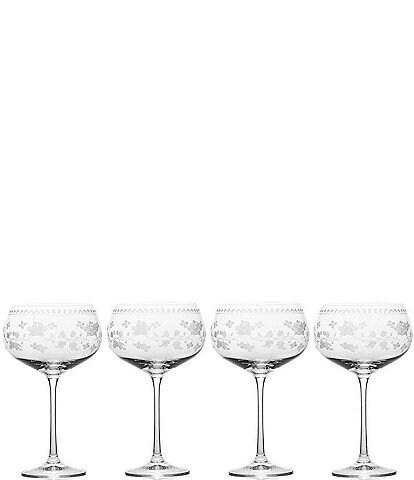 Mikasa Vintage Floral White Wine Glasses, Set of 4