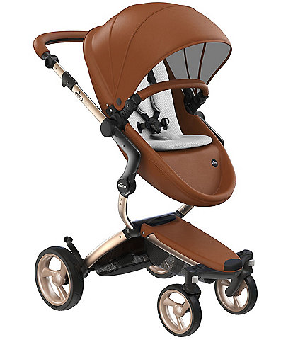 Mima Xari Stroller - Champagne Chassis with Camel Reversible Seat and Carrycot