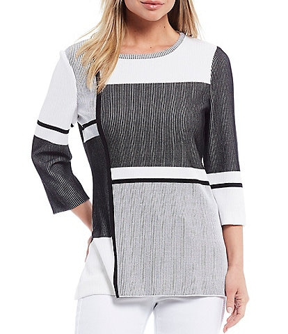 Ming Wang 3/4 Sleeve Colorblock Tunic