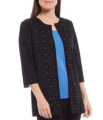 Ming Wang 3/4 Sleeve Crew Neck Embellished Jacket