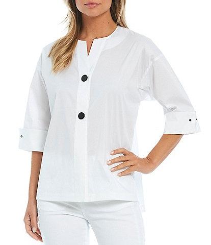 Ming Wang 3/4 Sleeve High-Low Hem Two Snap Jacket