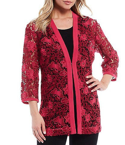 Ming Wang 3/4 Sleeve Lace Front Embroidery Jacket