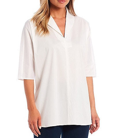 Ming Wang 3/4 Sleeve Shawl Collar Tunic