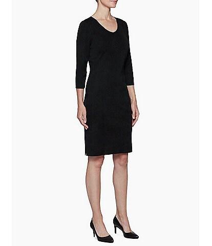 Ming Wang 3/4 Sleeve V-Neck Knit Sheath Dress