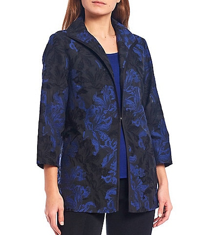 Ming Wang Burnout Shawl Collar 3/4 Sleeve Jacket