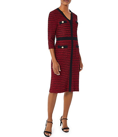 Ming Wang Button Accent V-Neck 3/4 Sleeve Striped Knit Sweater Dress