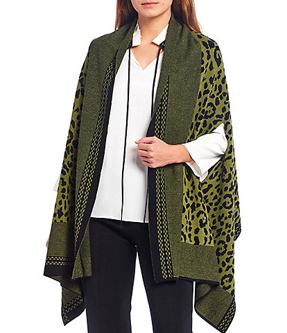 Ming Wang Cheetah Print Open Front Shawl Wrap