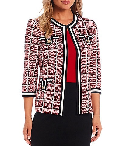 Ming Wang Classic Tweed 3/4 Sleeve Pocket Jacket