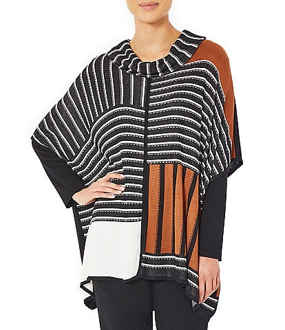Ming Wang Contrast Stripe Color Block Cowl Neck Short Sleeve Knit Poncho Top