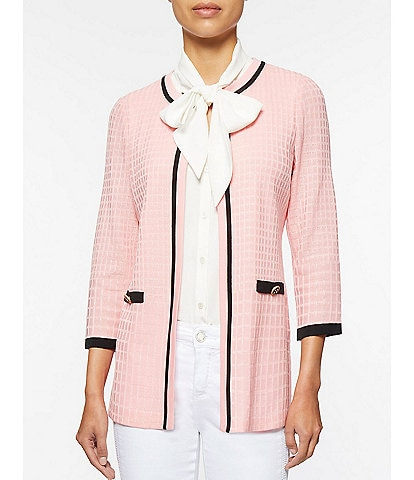 Ming Wang Contrast Trim Tonal Textured Check 3/4 Sleeve Knit Jacket