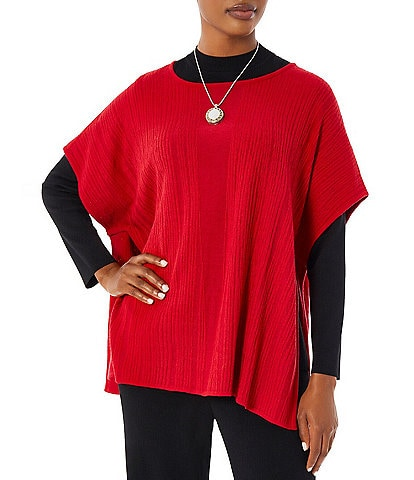 Ming Wang Cozy Textured Knit Round Neck Short Sleeve Poncho