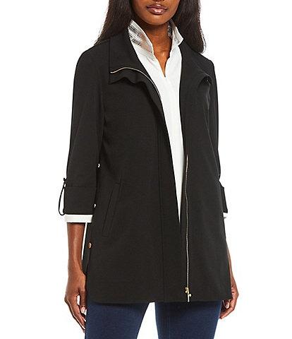 Ming Wang Deco Crepe 3/4 Sleeve Zip-Front Shirt Jacket