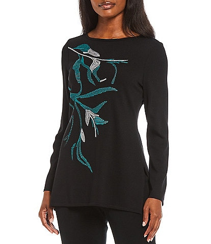 Ming Wang Floral Embroidery Long Sleeve Boat Neck Knit Tunic