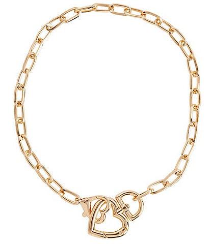 Ming Wang Gold Heart Drop Necklace