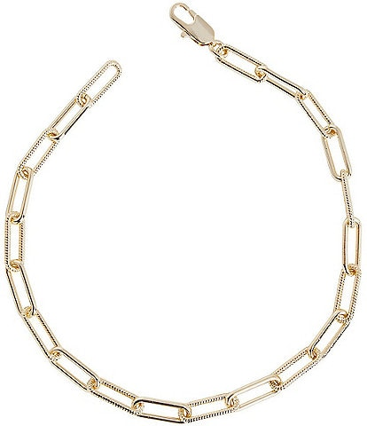 Ming Wang Gold Oblong Link Short Paperclip Necklace
