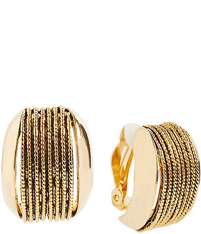 Ming Wang Gold Rope Inset Clip Earrings