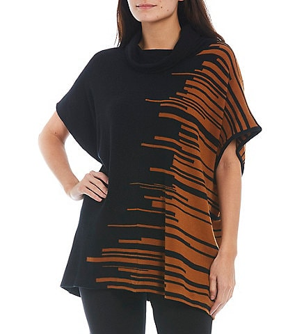 Ming Wang Graphic Contrast Print Cowl Neck Short Sleeve Knit Tunic