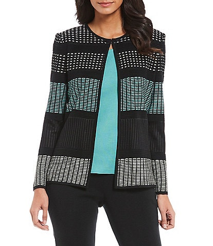 Ming Wang Jewel Neck Blockstripe Jacket