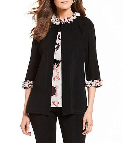 Ming Wang Jewel Neck Floral Print Ruffle Trim Jacket
