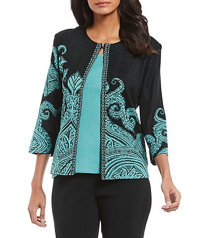Ming Wang Jewel Neck Patterned Jacket