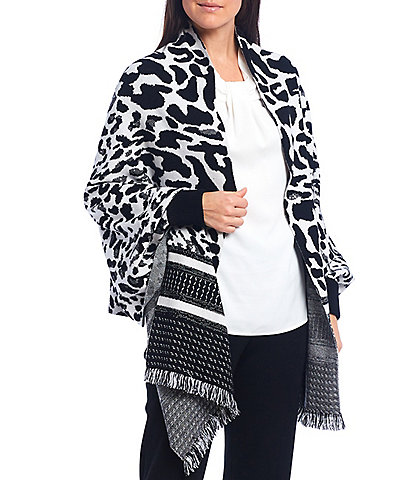 Ming Wang Long Sleeve Animal Fringe Hem Wrap