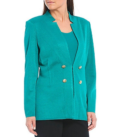 Ming Wang Long Sleeve Notch Collar Button Detail Jacket